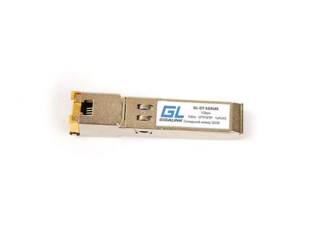 Модуль GIGALINK SFP, 10/100/1000BaseT (1.25Гбит/c), UTP, RJ45, до 100