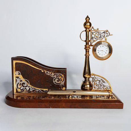 Письменный набор Визитница (яшма, золото) подарок для мужчин