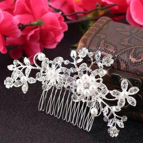 Diadema pieptan mireasa accesoriu par argintiu cu perle