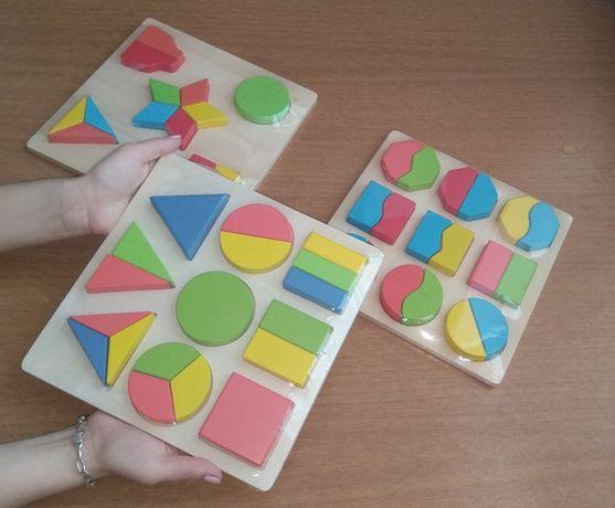 Дървени Геометрични Логически Фигури Монтесори 3 модела с 51бр. части