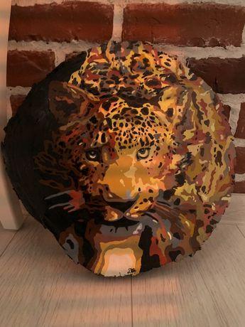 Tablou pe lemn leopard handmade