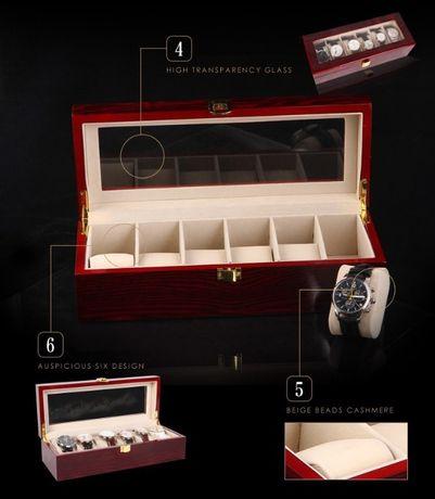 Cutie ceasuri din lemn pentru 6 ceasuri cutie depozitare ceasuri