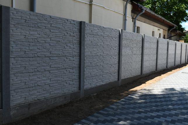 Vand gard beton si stalpi, cu model caramida pe o fata