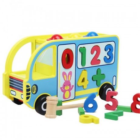 Jucarie din lemn Montessori Autobuz educativ 5 in 1