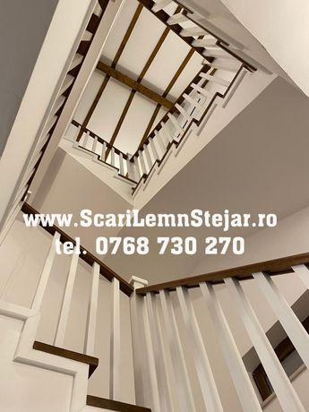 Scara de lemn masiv cu balustrada si mana curenta din lemn stejar