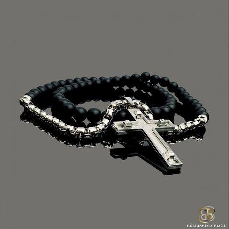 Мъжки Ланец от Оникс и Стоманена Верижка с Кръст