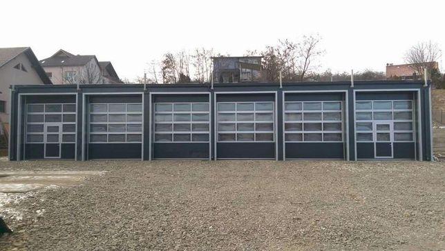 Uși de garaj industriala antracit 4000 * 3500 cu 3rand panou vitrat+l