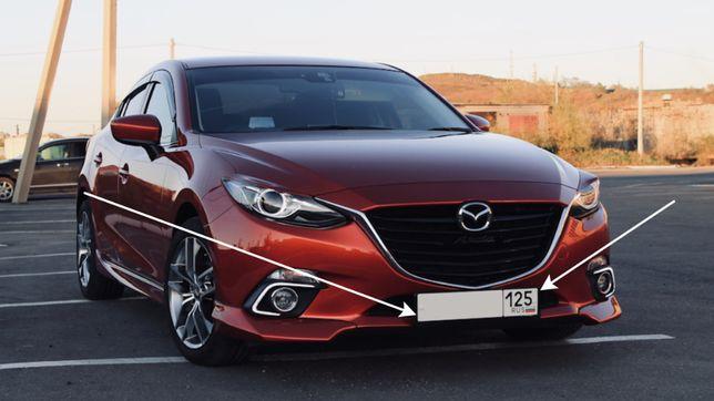 Тюнинг подиум номерного знака Mazda 3 2013+