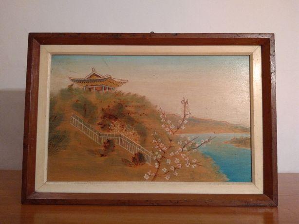 Tablou asiatic Pictat manual pe Lemn - Piesa veche cu Pagoda