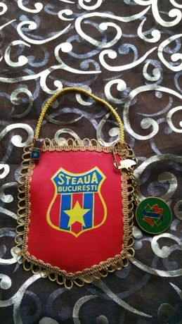 Fanion vintage Steaua, cadou insigna si breloc