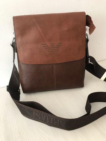 Стилна мъжка чанта Armani от естествена кожа 13