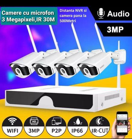 Supraveghere wireless 4 camere cu microfon, Transmisie 500 metri, Nou