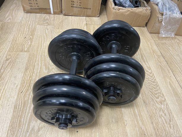 Gantere reglabile profi cauciucate noi 24 kg set-12 kg+12 kg=24 kg noi