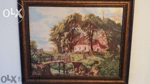 """Гоблен """"Пътят към църквата"""" на Милена Стил с луксозна рамка."""