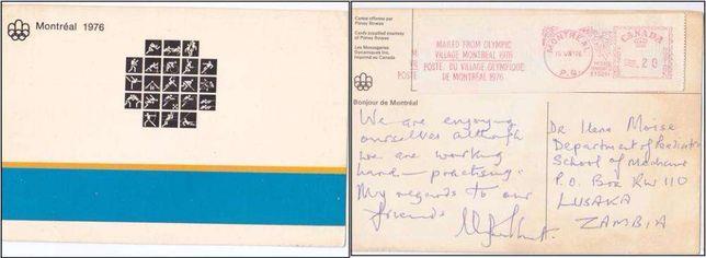 Montreal 1976 - carte postala expediata din Satul Olimpic