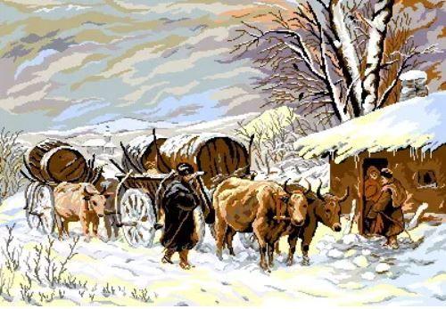 Goblen Inramat Iarna pictor Theodor Aman