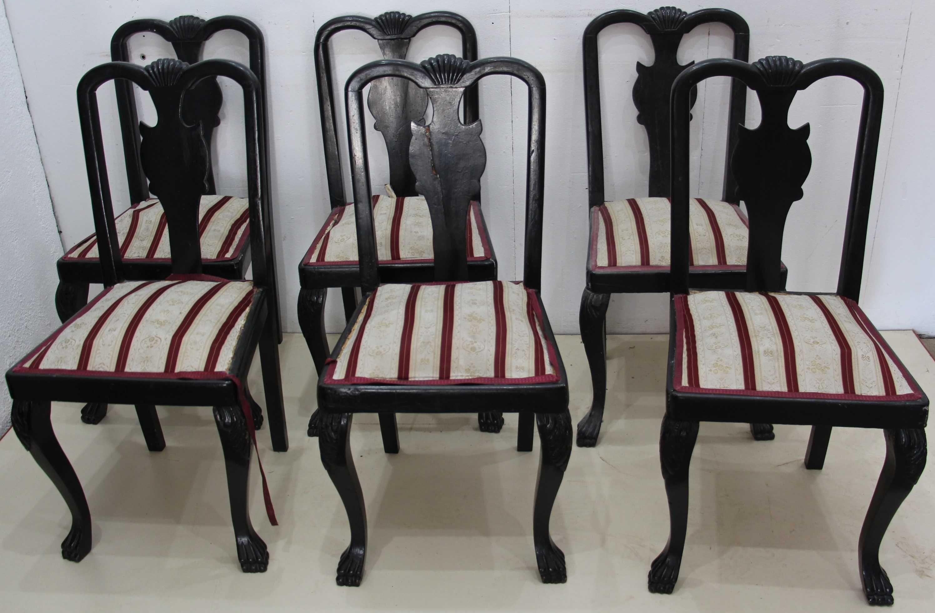 6 buc Scaun Lemn Masiv Stil Chippendale; Scaun vintage sculptat