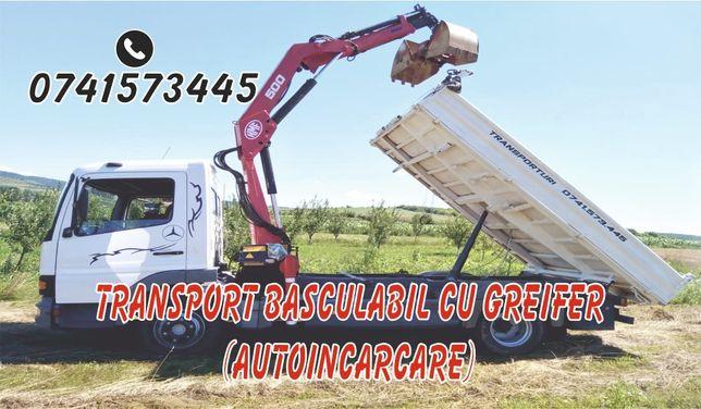 Transport basculabil cu macara (cu greifer, autoincarcare)