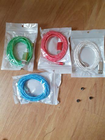 Cablu de date / încărcare telefon-magnetic, luminos- 2 m lungime