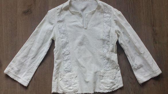 стара ръчно тъкана памучна риза с дантели