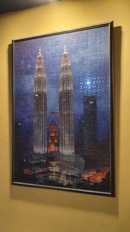 Tablou tip puzzle inramat turnurile Petronas Malaezia