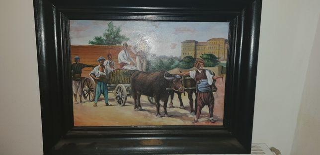 Tablou anii 1890 superb antiq pictura pe pănza carul cu boi