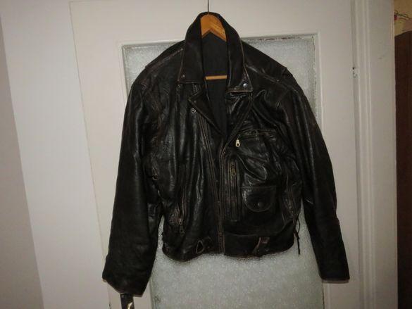 Солидно мъжкарско кожено яке POLO CLUB - за истинския мъжага , рокер,