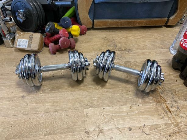 Gantere reglabile profesionale otel cromat noi30 kg, 15 kg+15 kg=30 kg
